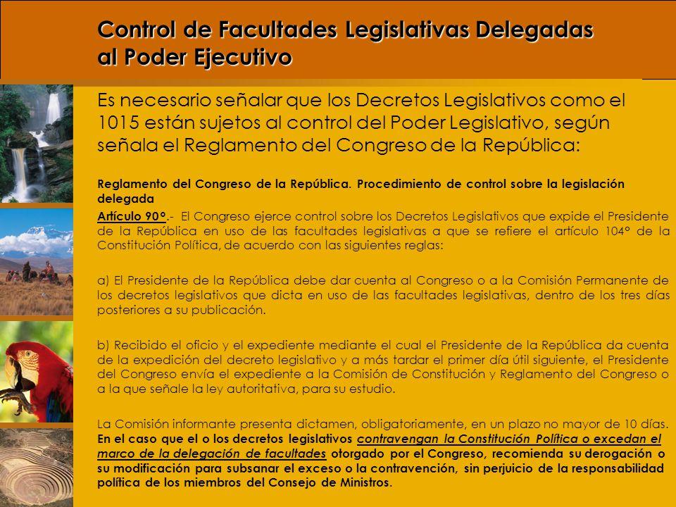 Control de Facultades Legislativas Delegadas al Poder Ejecutivo