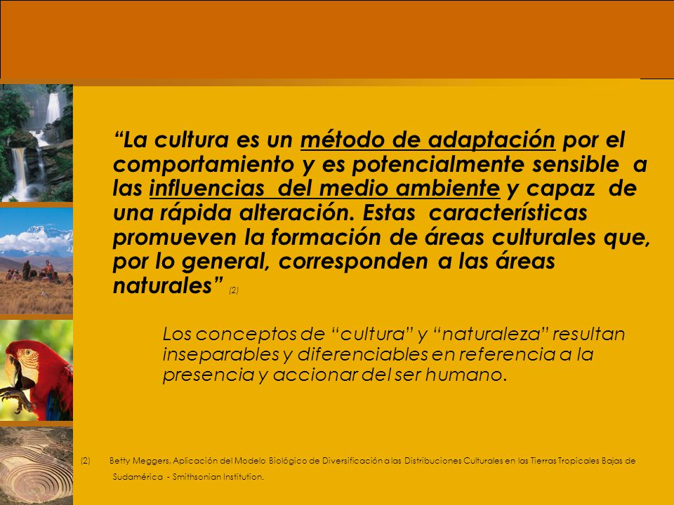 La cultura es un método de adaptación por el comportamiento y es potencialmente sensible a las influencias del medio ambiente y capaz de una rápida alteración. Estas características promueven la formación de áreas culturales que, por lo general, corresponden a las áreas naturales (2)