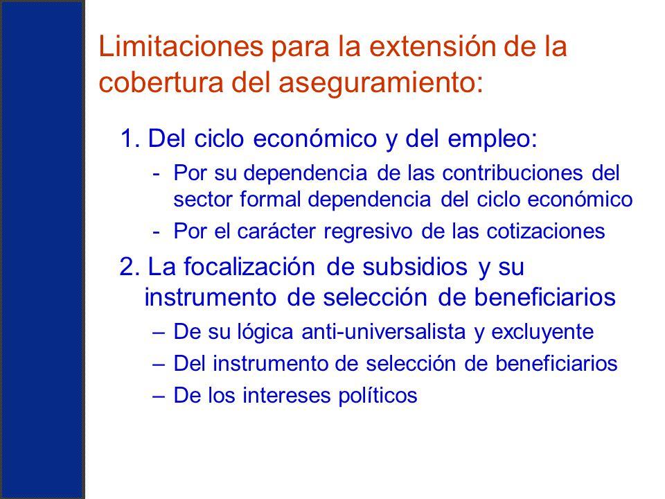 Limitaciones para la extensión de la cobertura del aseguramiento: