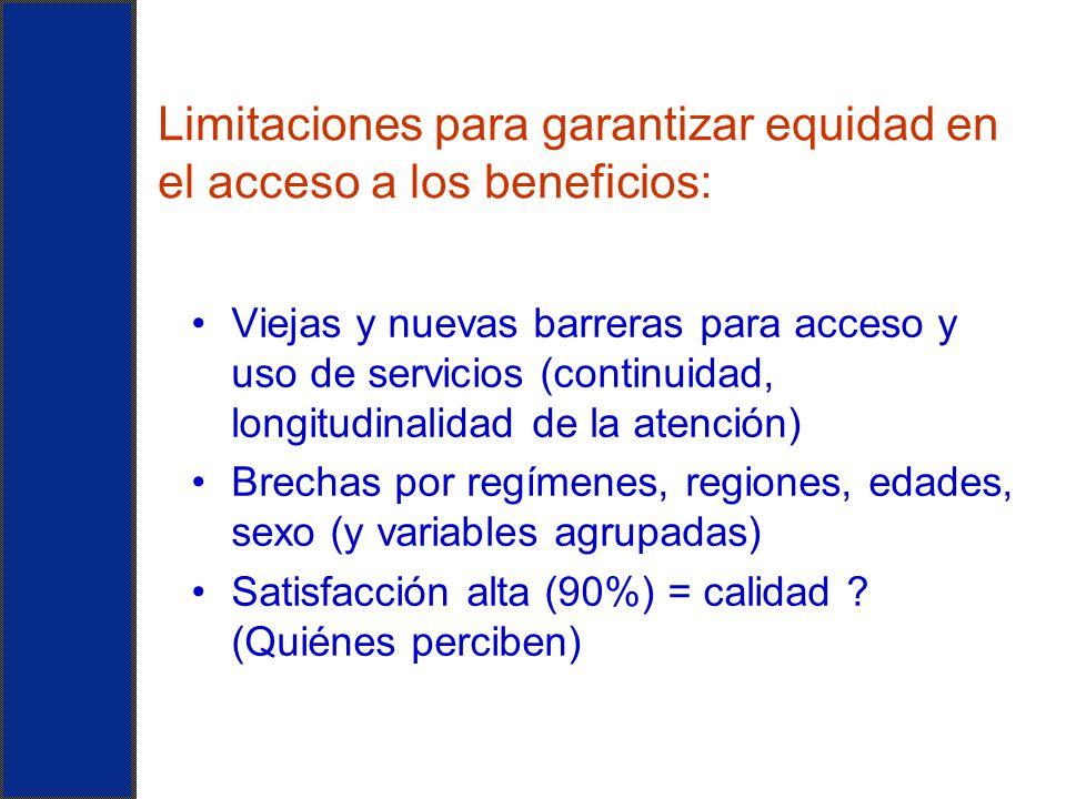 Limitaciones para garantizar equidad en el acceso a los beneficios: