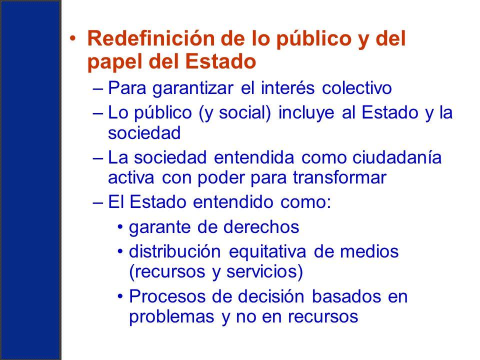 Redefinición de lo público y del papel del Estado