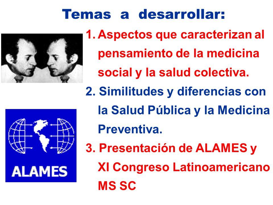 Temas a desarrollar: Aspectos que caracterizan al pensamiento de la medicina social y la salud colectiva.