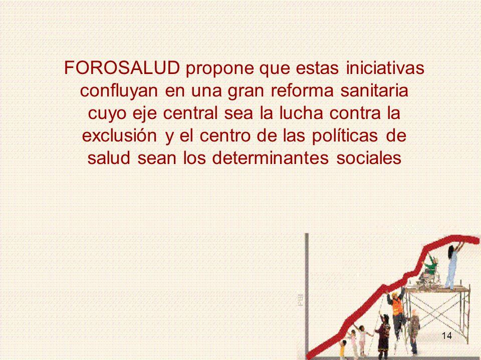 FOROSALUD propone que estas iniciativas confluyan en una gran reforma sanitaria cuyo eje central sea la lucha contra la exclusión y el centro de las políticas de salud sean los determinantes sociales
