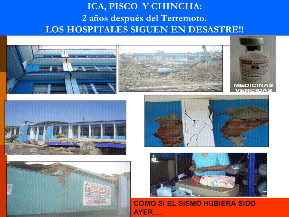 ICA, PISCO Y CHINCHA: 2 años después del Terremoto