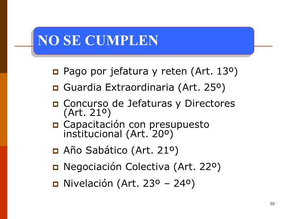 NO SE CUMPLEN Pago por jefatura y reten (Art. 13º)