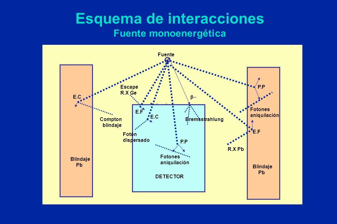 Esquema de interacciones Fuente monoenergética