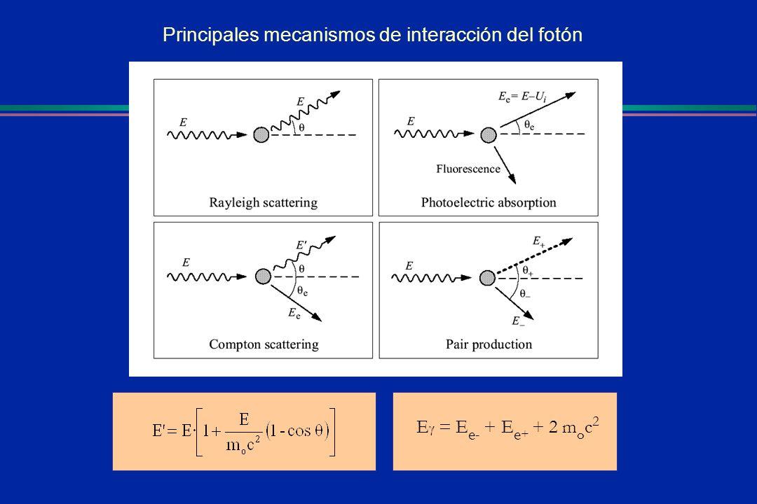 Principales mecanismos de interacción del fotón