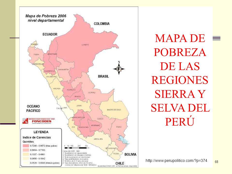 MAPA DE POBREZA DE LAS REGIONES SIERRA Y SELVA DEL PERÚ
