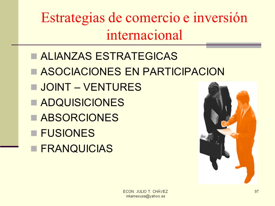 Estrategias de comercio e inversión internacional