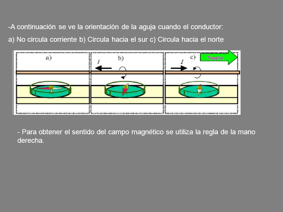 A continuación se ve la orientación de la aguja cuando el conductor: