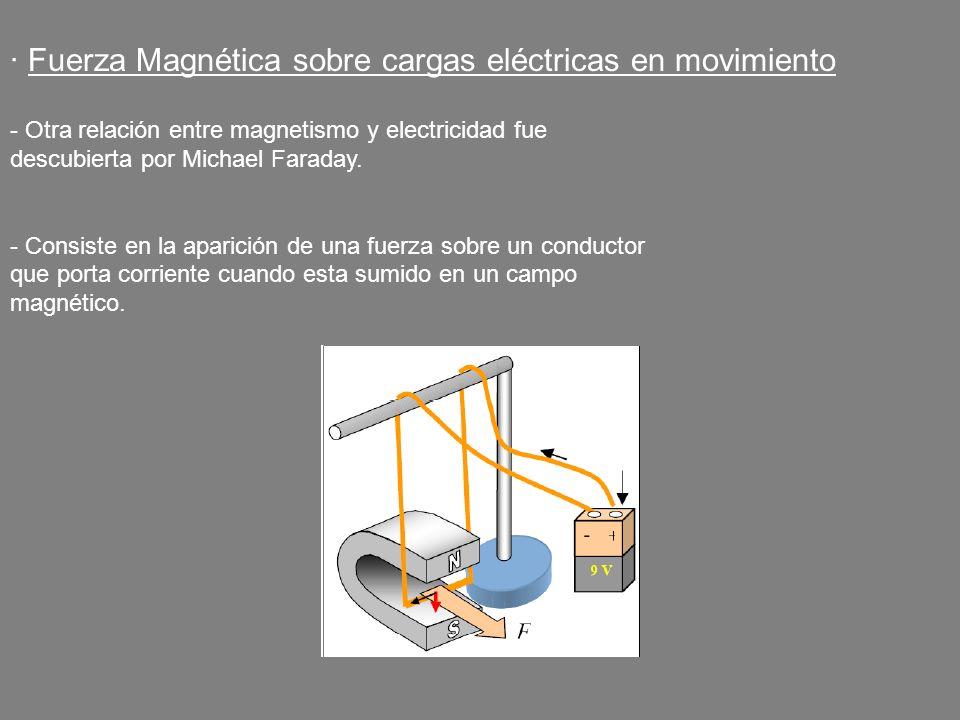 · Fuerza Magnética sobre cargas eléctricas en movimiento