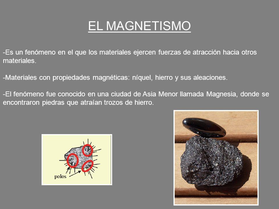 EL MAGNETISMO Es un fenómeno en el que los materiales ejercen fuerzas de atracción hacia otros materiales.