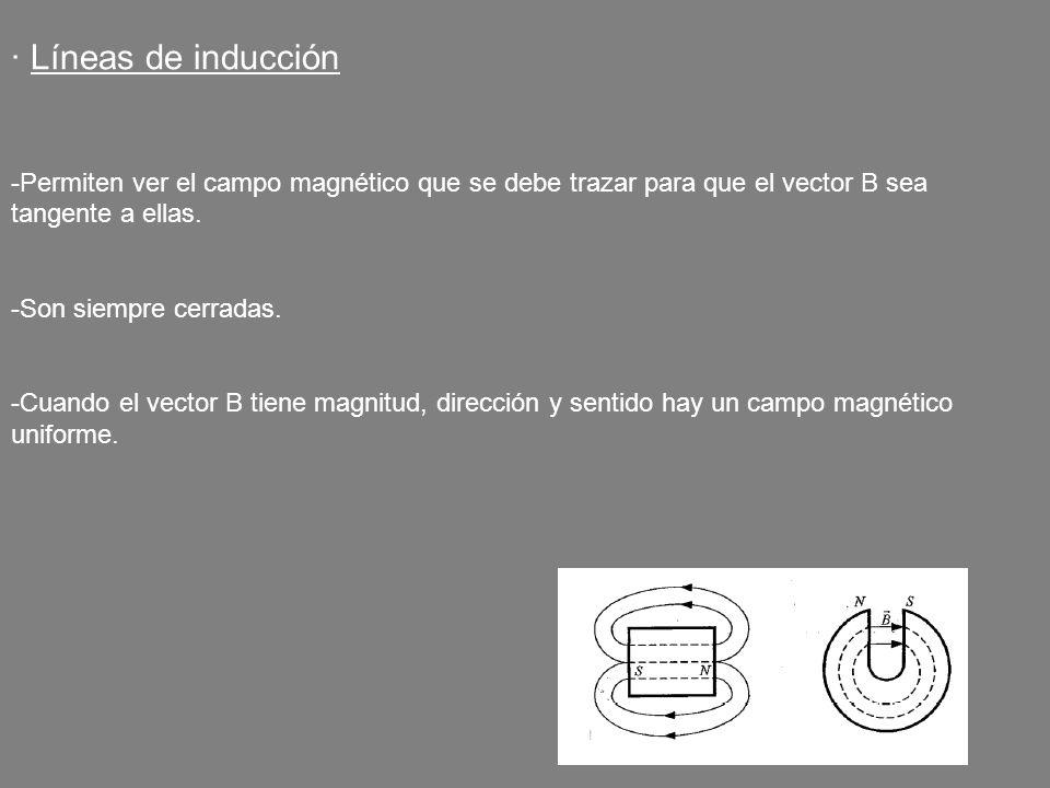 · Líneas de inducción Permiten ver el campo magnético que se debe trazar para que el vector B sea tangente a ellas.
