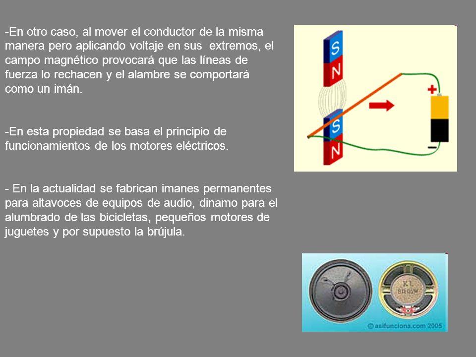 En otro caso, al mover el conductor de la misma manera pero aplicando voltaje en sus extremos, el campo magnético provocará que las líneas de fuerza lo rechacen y el alambre se comportará como un imán.