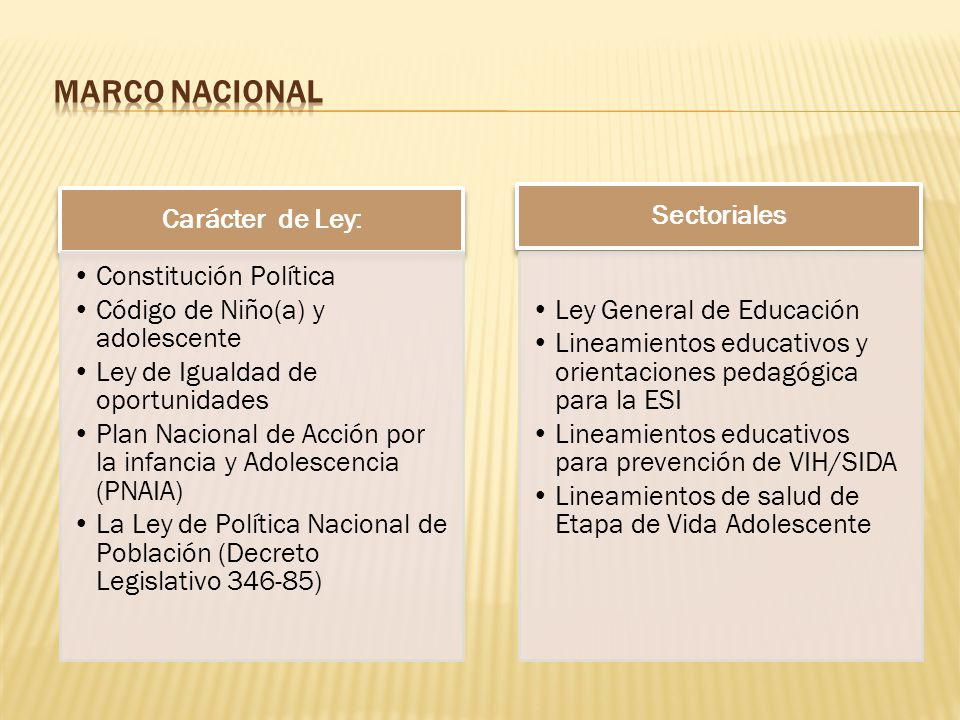MARCO NACIONAL Carácter de Ley: Constitución Política