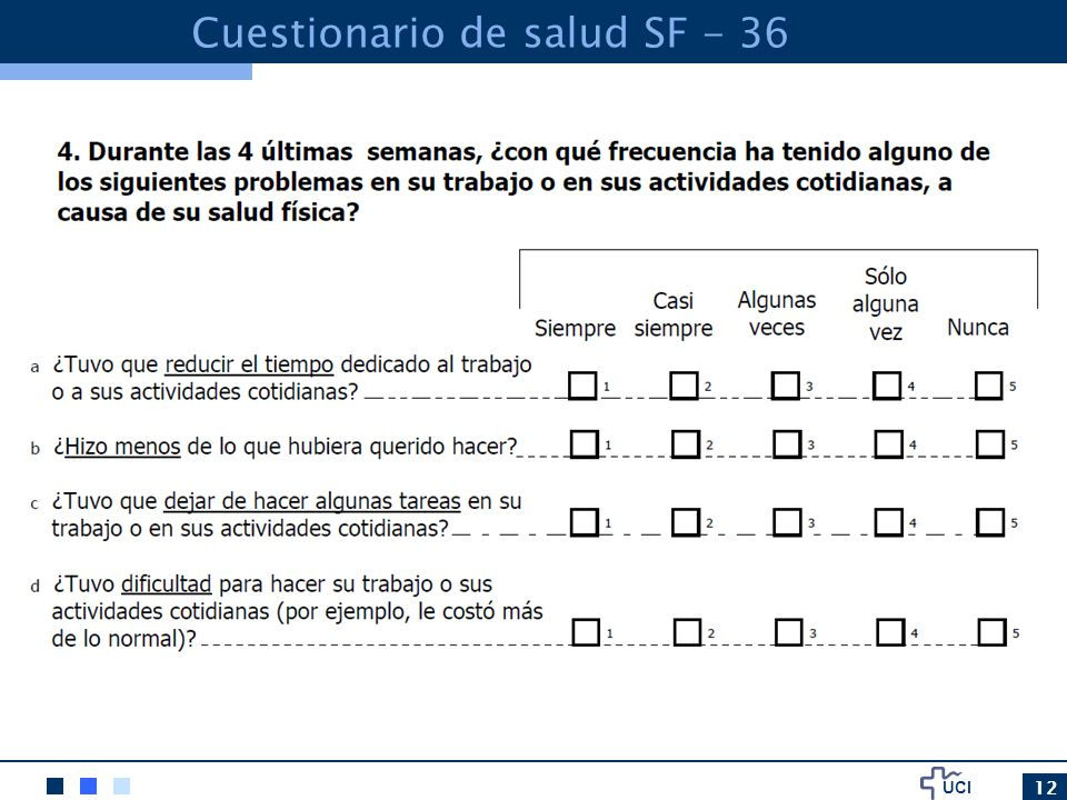 Cuestionario de salud SF - 36