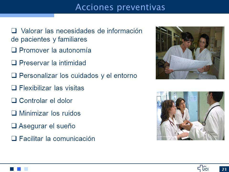 Acciones preventivas Valorar las necesidades de información de pacientes y familiares. Promover la autonomía.