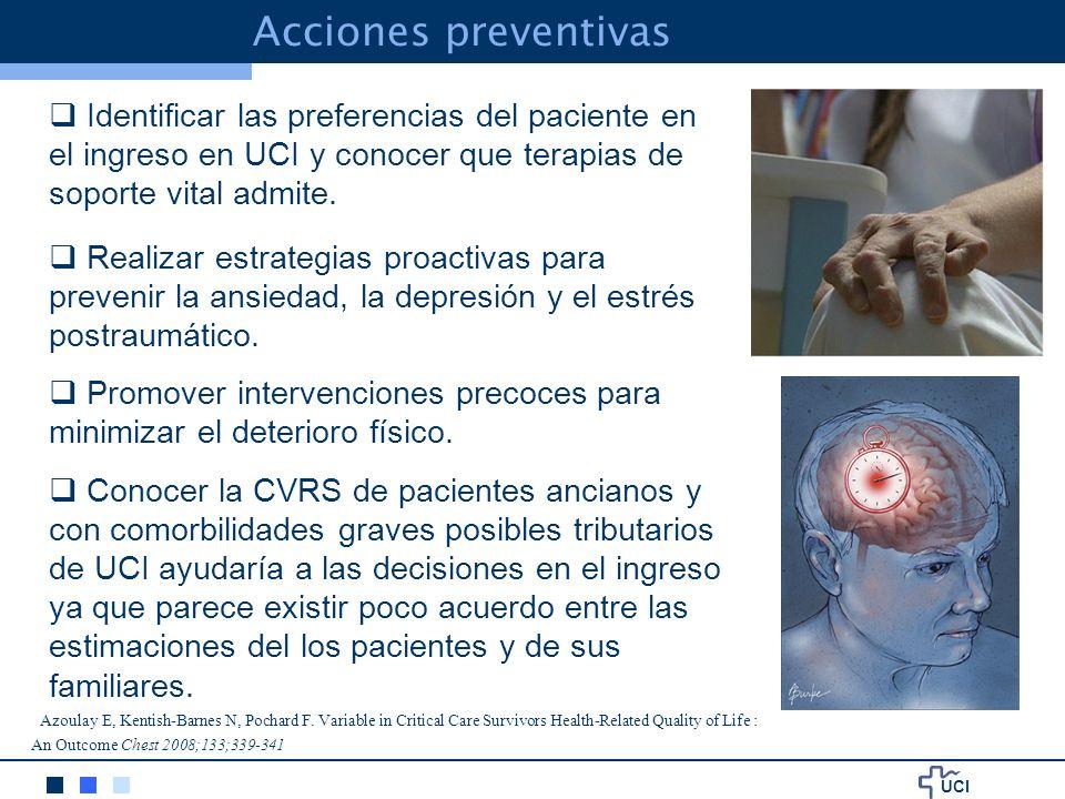 Acciones preventivas Identificar las preferencias del paciente en el ingreso en UCI y conocer que terapias de soporte vital admite.
