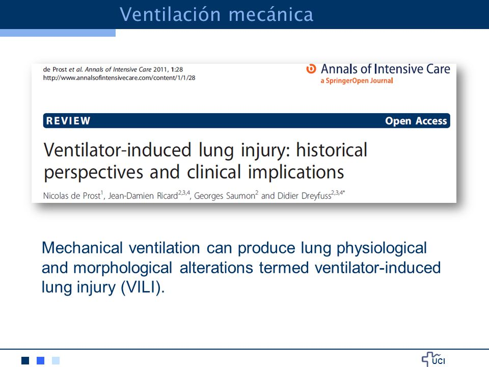 Ventilación mecánica Mechanical ventilation can produce lung physiological and morphological alterations termed ventilator-induced.