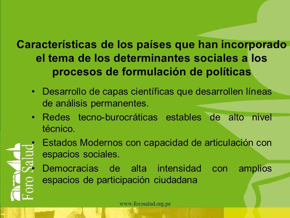 Características de los países que han incorporado el tema de los determinantes sociales a los procesos de formulación de políticas