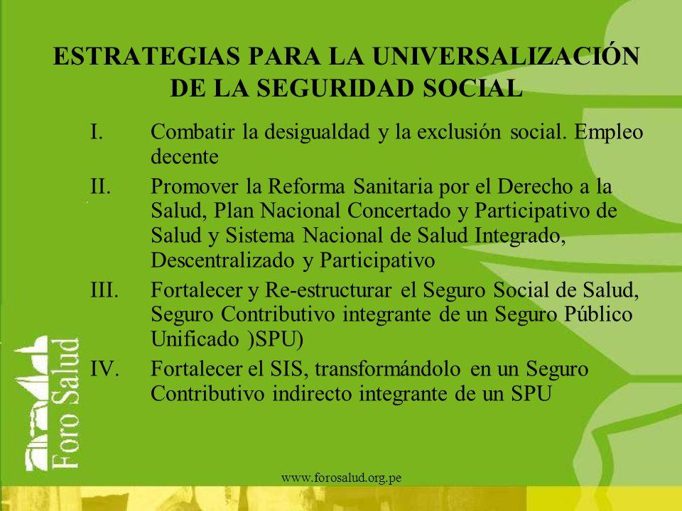 ESTRATEGIAS PARA LA UNIVERSALIZACIÓN DE LA SEGURIDAD SOCIAL