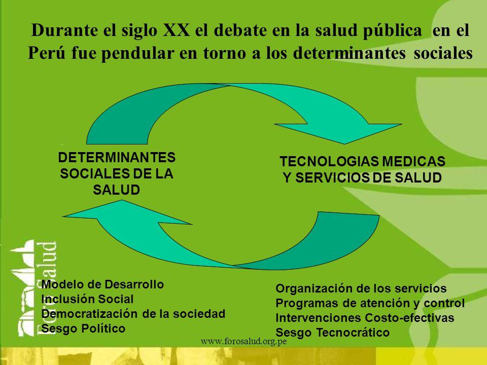 Durante el siglo XX el debate en la salud pública en el Perú fue pendular en torno a los determinantes sociales