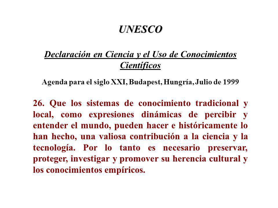 UNESCO Declaración en Ciencia y el Uso de Conocimientos Científicos