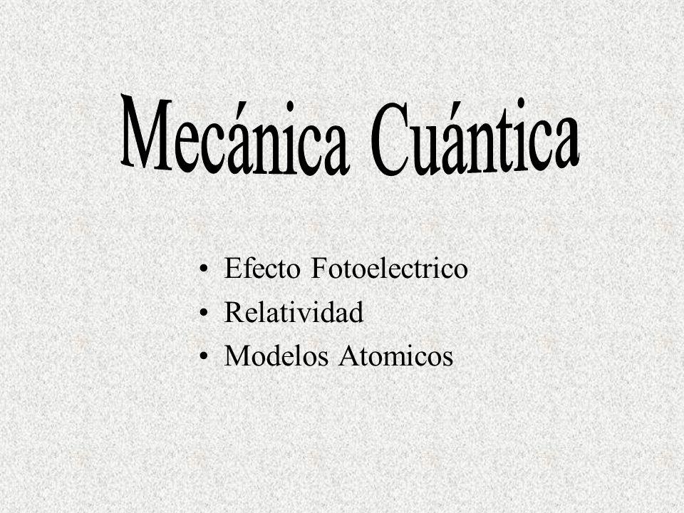 Mecánica Cuántica Efecto Fotoelectrico Relatividad Modelos Atomicos