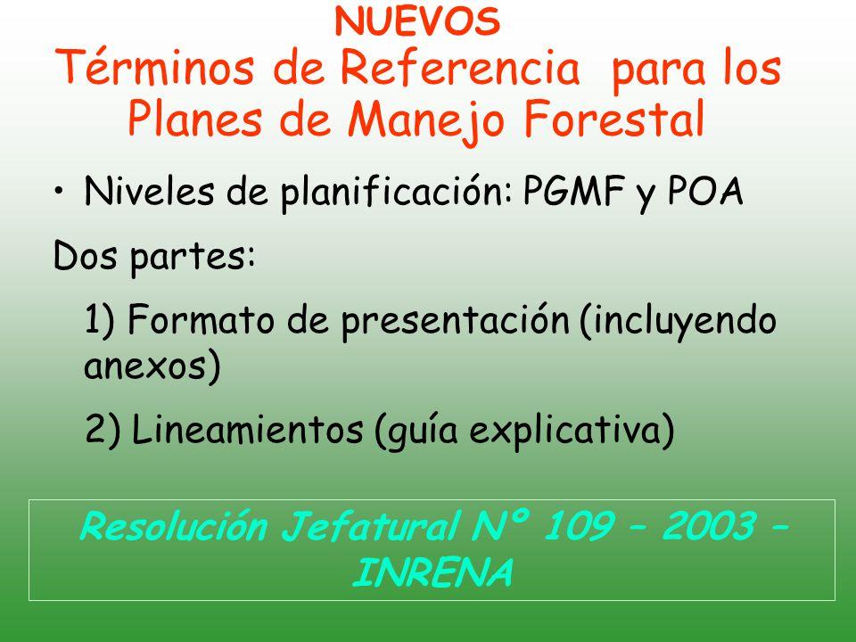 NUEVOS Términos de Referencia para los Planes de Manejo Forestal