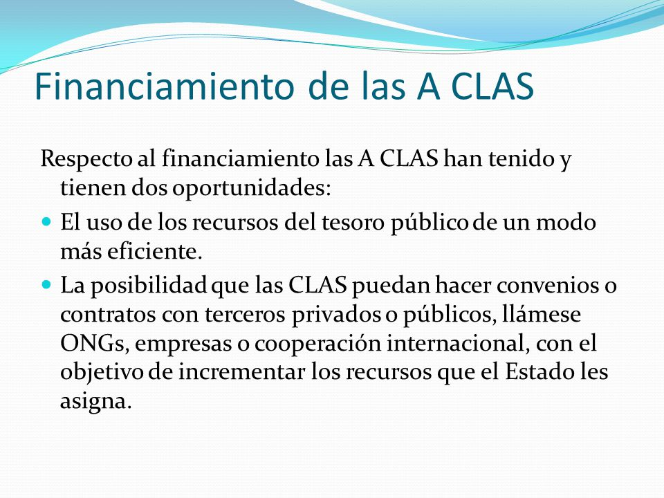 Financiamiento de las A CLAS