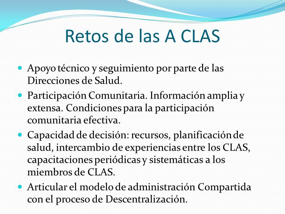 Retos de las A CLAS Apoyo técnico y seguimiento por parte de las Direcciones de Salud.