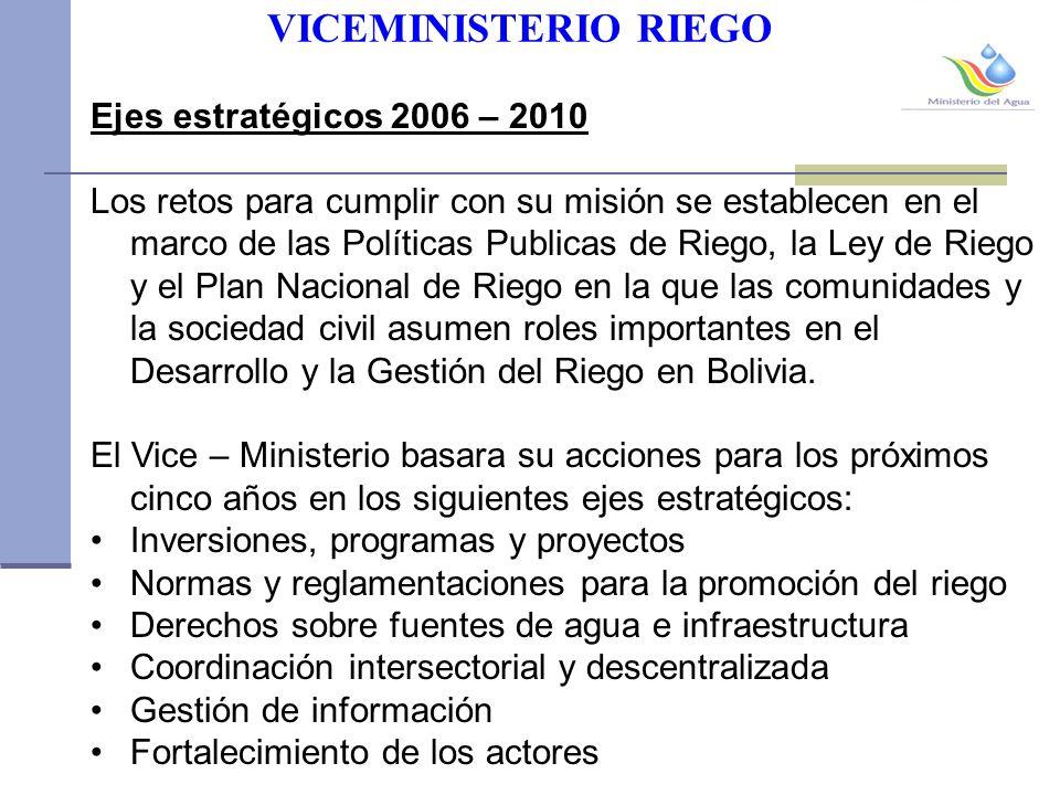 VICEMINISTERIO RIEGO Ejes estratégicos 2006 – 2010