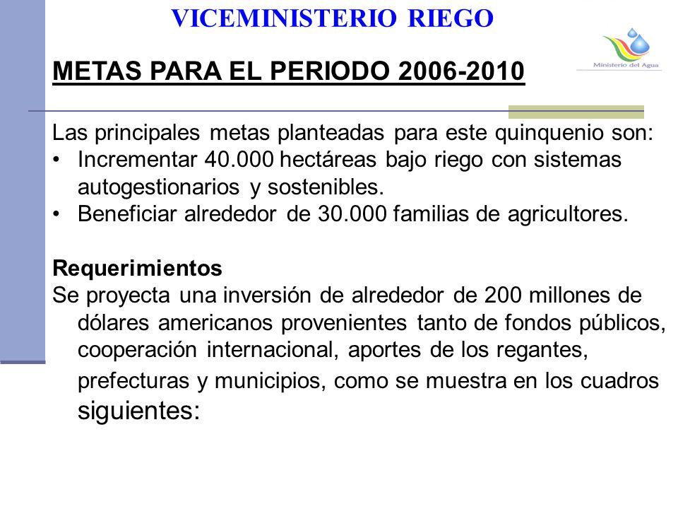 VICEMINISTERIO RIEGO METAS PARA EL PERIODO 2006-2010