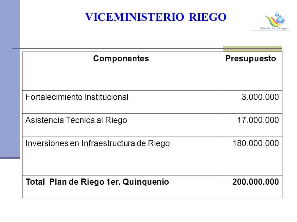 VICEMINISTERIO RIEGO Componentes Presupuesto