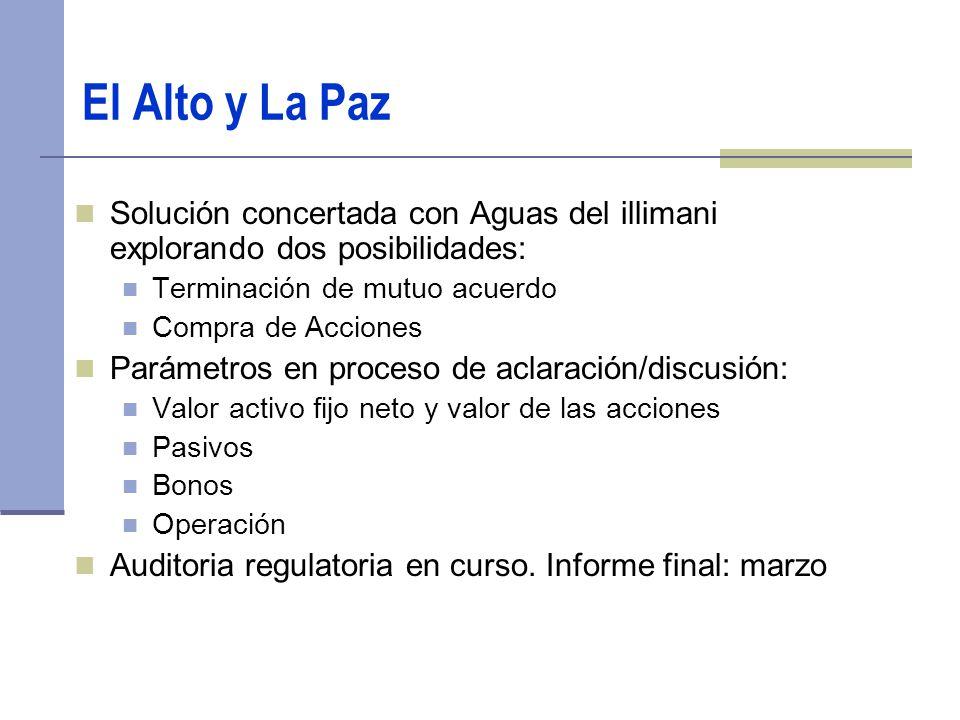El Alto y La Paz Solución concertada con Aguas del illimani explorando dos posibilidades: Terminación de mutuo acuerdo.