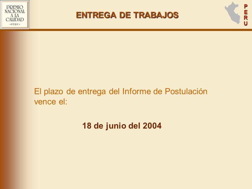 ENTREGA DE TRABAJOS 18 de junio del 2004