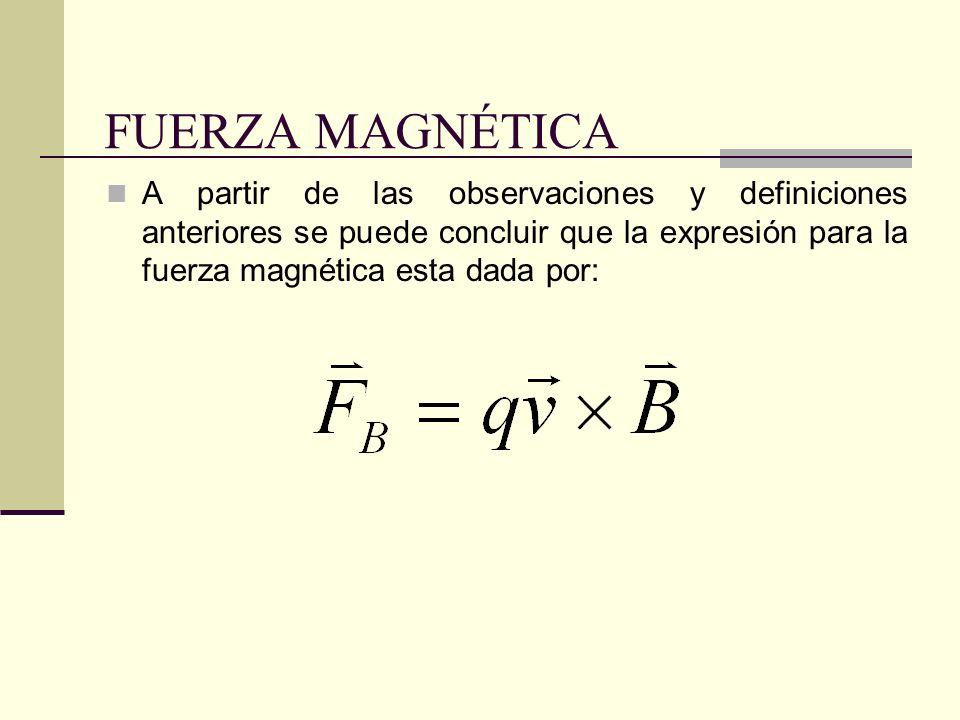 FUERZA MAGNÉTICA A partir de las observaciones y definiciones anteriores se puede concluir que la expresión para la fuerza magnética esta dada por: