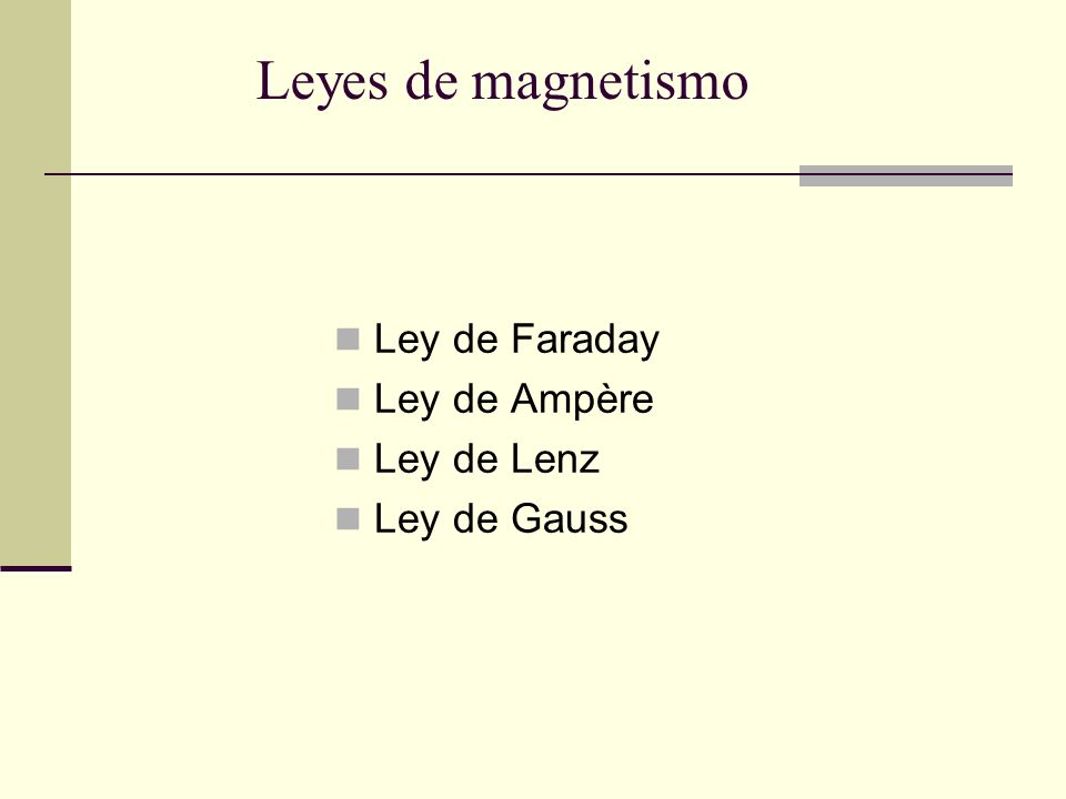 Ley de Faraday Ley de Ampère Ley de Lenz Ley de Gauss