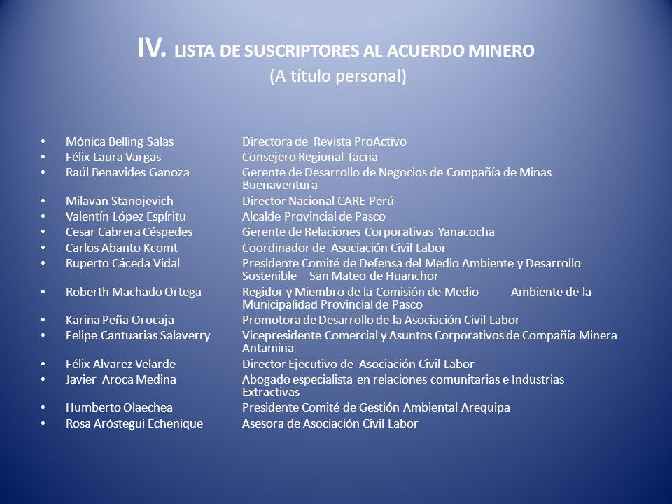 IV. LISTA DE SUSCRIPTORES AL ACUERDO MINERO (A título personal)
