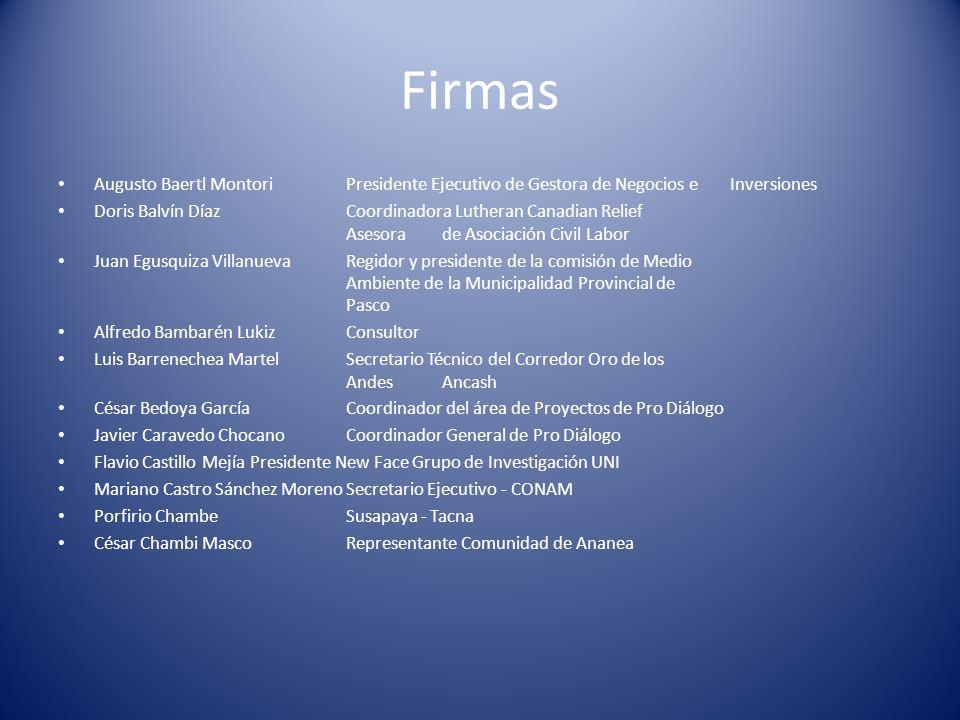 Firmas Augusto Baertl Montori Presidente Ejecutivo de Gestora de Negocios e Inversiones.