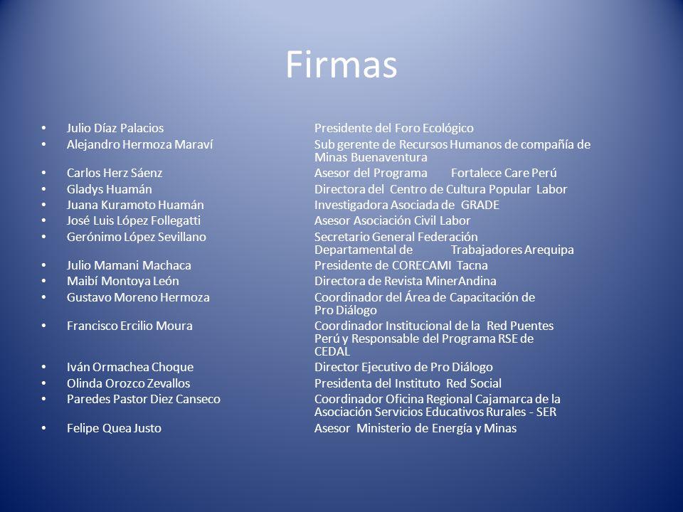 Firmas Julio Díaz Palacios Presidente del Foro Ecológico