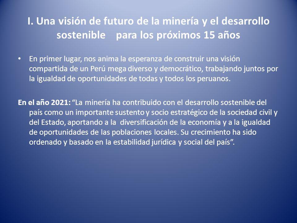 I. Una visión de futuro de la minería y el desarrollo sostenible