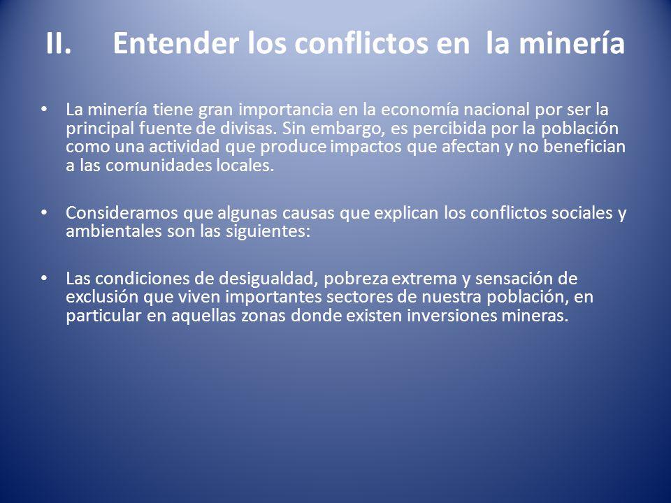 II. Entender los conflictos en la minería