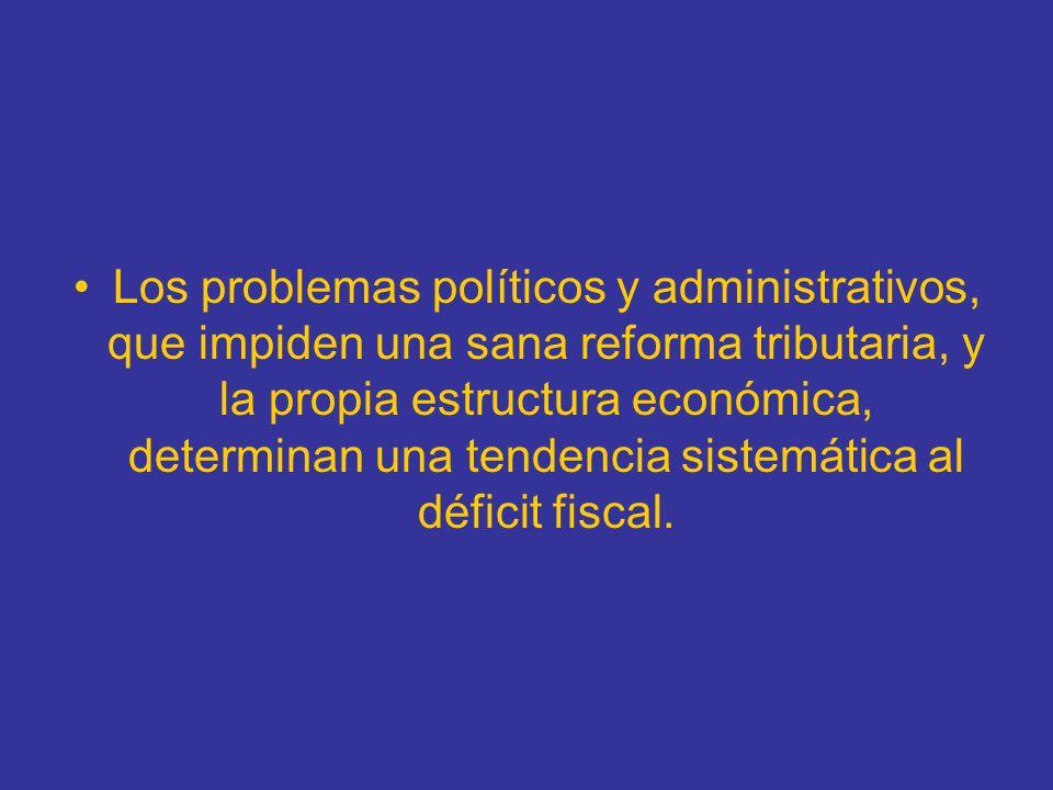 Los problemas políticos y administrativos, que impiden una sana reforma tributaria, y la propia estructura económica, determinan una tendencia sistemática al déficit fiscal.