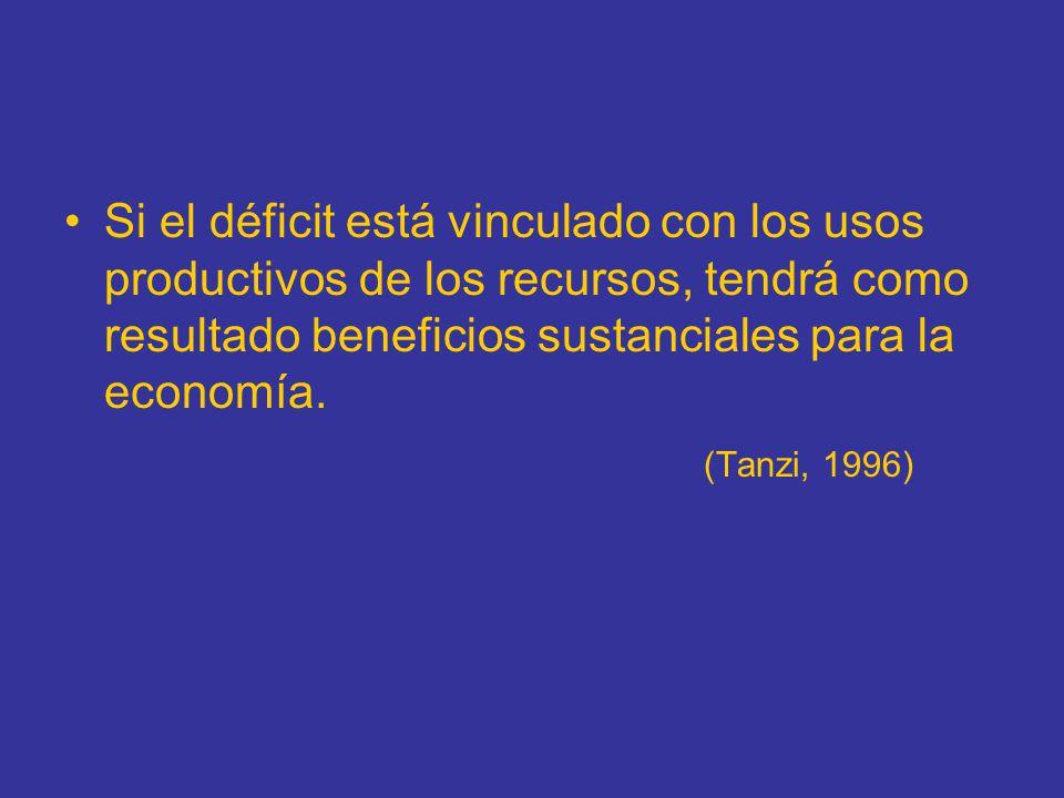 Si el déficit está vinculado con los usos productivos de los recursos, tendrá como resultado beneficios sustanciales para la economía.