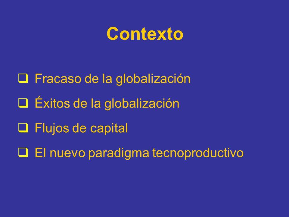 Contexto Fracaso de la globalización Éxitos de la globalización