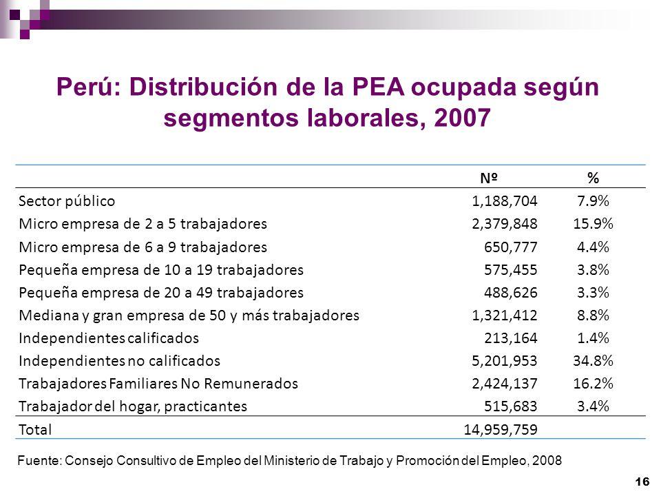 Perú: Distribución de la PEA ocupada según segmentos laborales, 2007