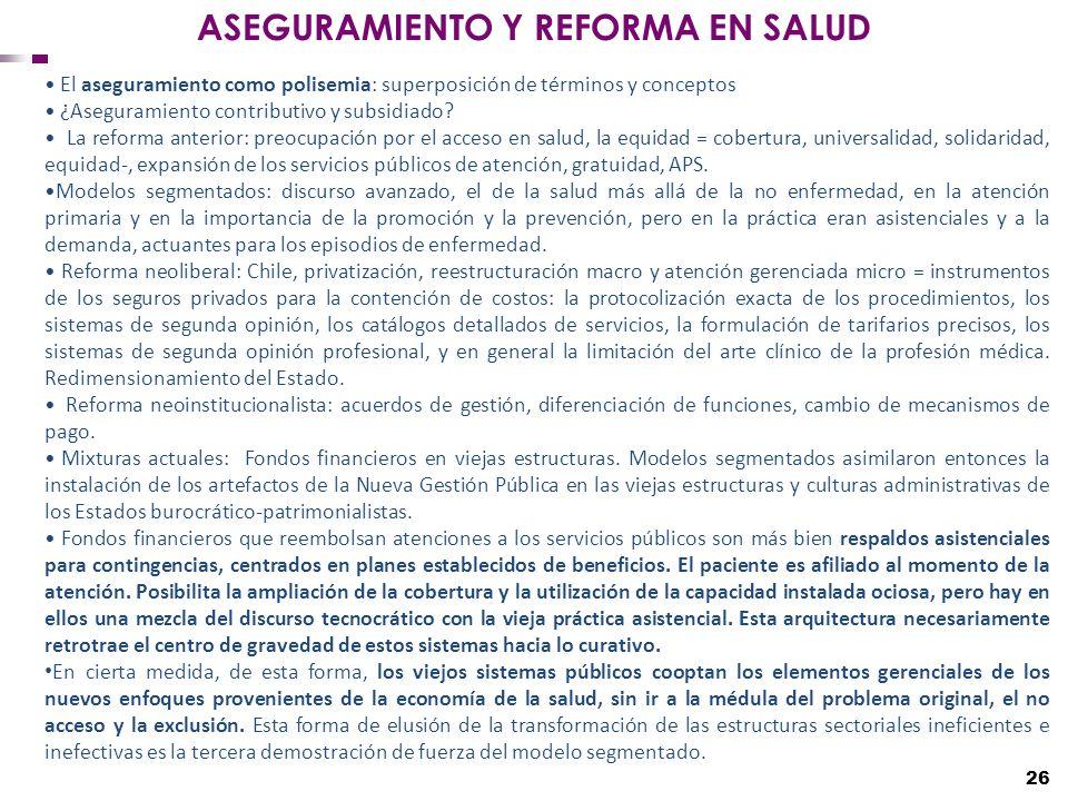 ASEGURAMIENTO Y REFORMA EN SALUD