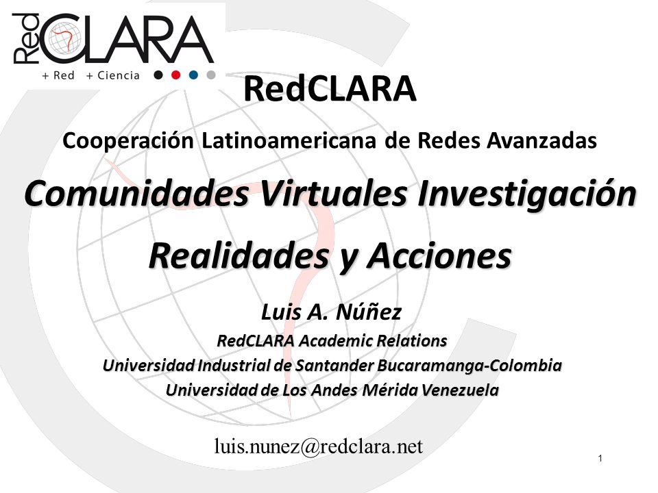 RedCLARA Comunidades Virtuales Investigación Realidades y Acciones