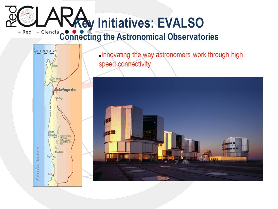 Key Initiatives: EVALSO Connecting the Astronomical Observatories